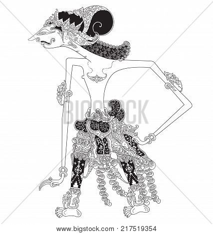 Kandihawa, a character of traditional puppet show, wayang kulit from java indonesia.