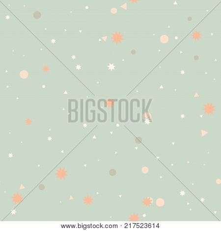 Colorful pastel abstract seamless pattern with pink, gray dots, circles, white triangles, orange stars on mint green backdrop. Infinity geometrical background. Vector illustration.