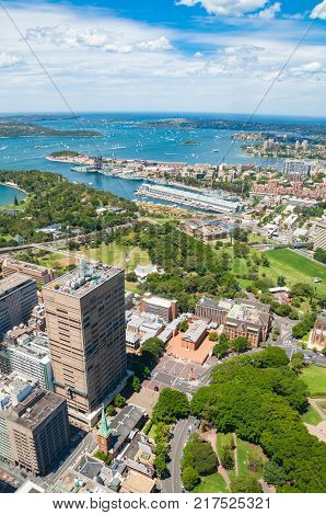 Aerial view of Sydney suburbs Potts Point and Elizabeth Bay and Botanic Garden with Sydney Harbour. Sydney Australia