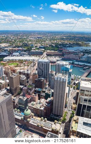 Aerial view on Sydney CBD and Darling Harbour with Pyrmont suburb on sunny day. Sydney Australia