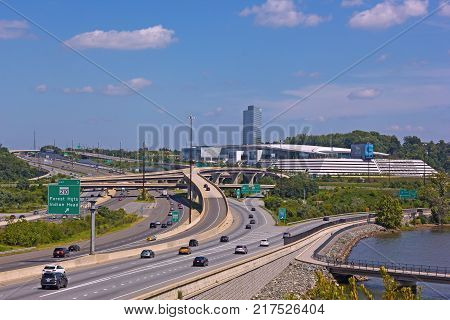 OXON HILL MARYLAND USA - SEPTEMBER 4 2017: A complex network of highways around casino grounds in Prince George county of Maryland. Newly built MGM National Harbor Resort and Casino conveniently connected to Washington DC and Virginia.