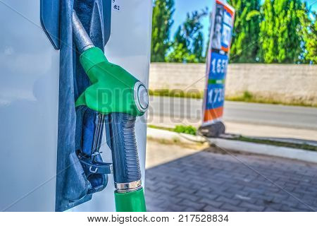 Close up of a fuel nozzle in the countryside
