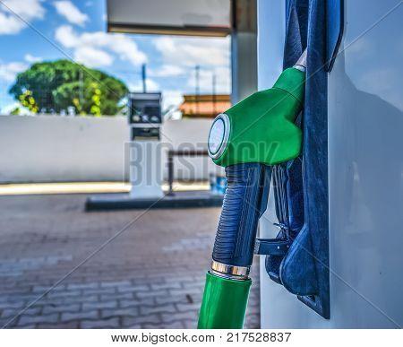 Close up of a unleaded fuel nozzle