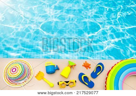 Pool And Beach Items Flat Lay. Summer Vacation.