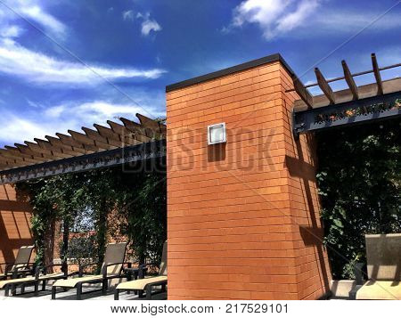 Outside Building Made Of Brick And Wood