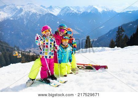 Family Ski Vacation. Winter Snow Sport For Kids.