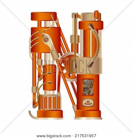 The letter N of the Latin alphabet, made in the form of a mechanism with moving and stationary parts on a steam, hydraulic or pneumatic draft. Isolated freely editable object on white background.