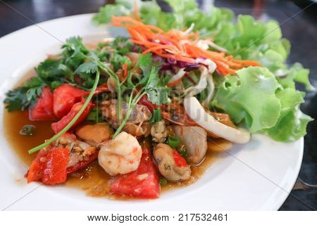 spicy salad seafood salad or thai spicy salad