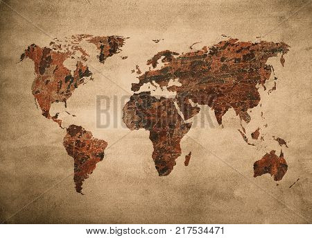 highly detailed grunge map of the world