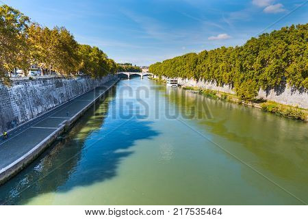 Tiber river on a sunny day in Rome Italy