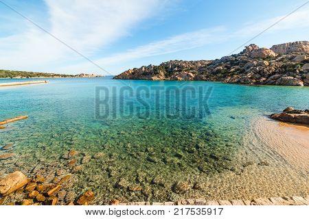 Blue sea in Spalmatore beach in La Maddalena. Sardinia Italy