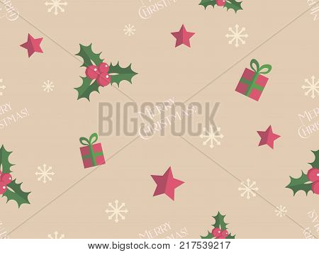 Christmas seamless pattern with flat  decorations, holly leaves, snowflakes and stars on creamy ocher background