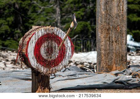 Thrown axe in bullseye, lumberjack competition Canada