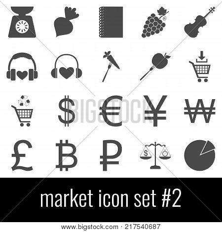Market. Icon set 2. Gray icons on white background.
