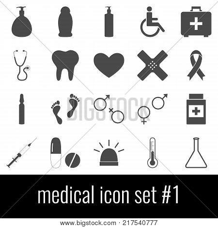 Medical. Icon set 1. Gray icons on white background.