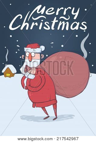 Christmas card of funny confused Santa Claus with big bag in the snowy night in front of festive houses. Santa looks lost. Vertical vector illustration. Cartoon character. Lettering. Copy space.
