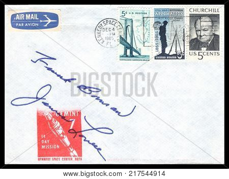 USA - CIRCA December 4th 1965: Nasa, US postal service first day cover with hand written signature  of Frank Borman, Jim Lovell, commemorating: Gemini 7 spaceship  Project.
