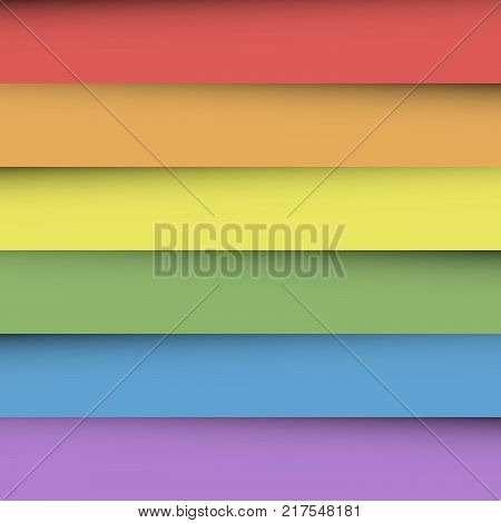 Overlapping colorful paper sheets in colors of rainbow spectrum. With shadow effect. Happy abstract vector background wallpaper.