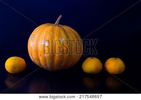 Orange pumpkin and oranges line photo on black background. Fresh vegetable and fruit harvest. Ripe orange pumpkin. Halloween decoration. Outstanding or advantage metaphor. Extraordinary result concept