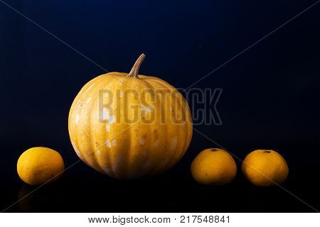 Yellow pumpkin and oranges on dark background. Fresh vegetables and fruits on black. Ripe orange pumpkin for Halloween decoration. Outstanding or extraordinary concept. Business advantage metaphor