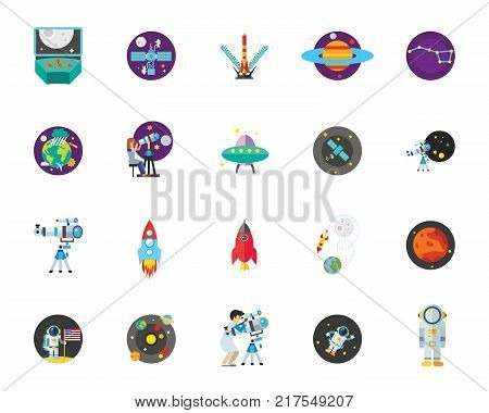 Astronomy icon set. Can be used for topics like science, space, cosmonautics, sci-fi