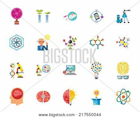 Exact science icon set. Can be used for topics like chemistry, genetics, research, laboratory