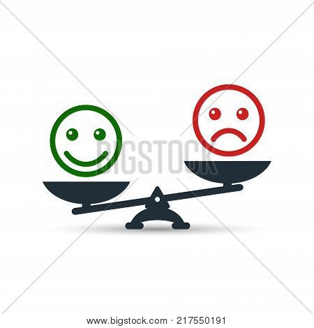 Smiley emoticons different mood on scales vector icon. Positive attitude as advantage. Happiness versus sadness.