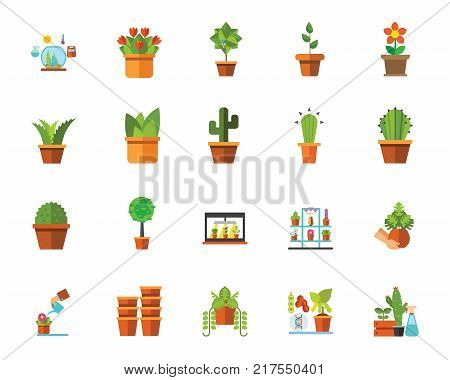 Houseplants icon set. Can be used for topics like hobby, potted flower, plant, home decoration, plant, gardening