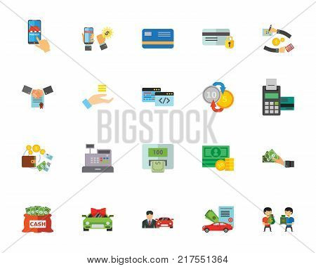 Spending money icon set. Can be used for topics like shopping, banking, finances, making purchase