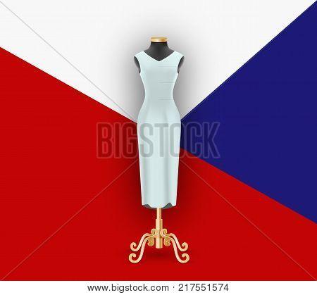 Female dress on the mannequin. Mock up for demonstration on geometric background pattern. Vector illustration