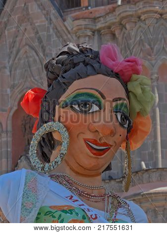 San Miguel de Allende, Guanajuato / Mexico - September 08 2015: Tall handcrafted figure known as