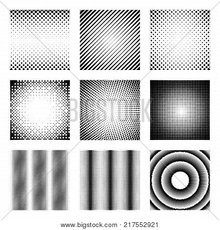 Set of halftone elements. Monochrome abstract patterns for DTP, prepress or generic concepts. Collection of retro backdrops. Vector illustration