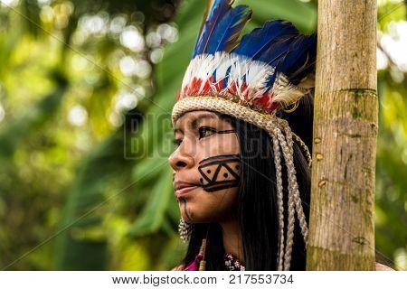 Native Brazilian woman from Tupi Guarani Tribe, Brazil