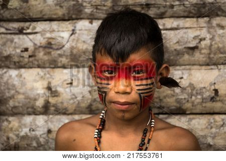 Native Brazilian Child from Tupi Guarani Tribe, Brazil