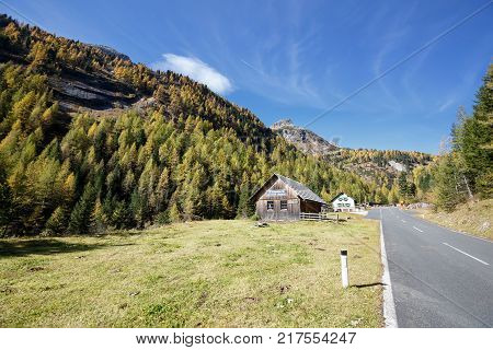 MALTA-HOCHALM ROAD - OCTOBER 10, 2017. Old mountain pine oil distillery, located near the Malta-Hochalm road in the High Tauern mountain range within Carinthia, Austria.