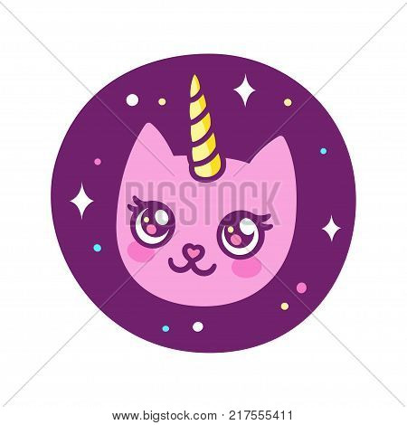 Cute cartoon unicorn cat drawing in anime style. Pink kitty in space sticker, vector illustration.