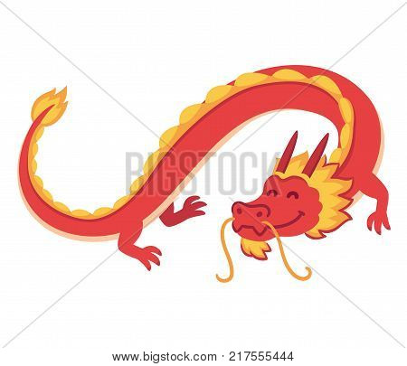Chinese Red Dragon flying, cute cartoon vector illustration. Symbol of wisdom and good luck for New Year celebration.