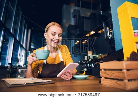 Low angle portrait of beaming woman writing message in phone while drinking mug of appetizing tea in modern cafe. Relax concept