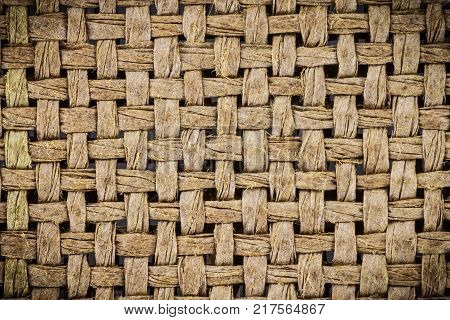 Weave texture or weave pattern background in macro style. Weaves texture classic retro background for design.