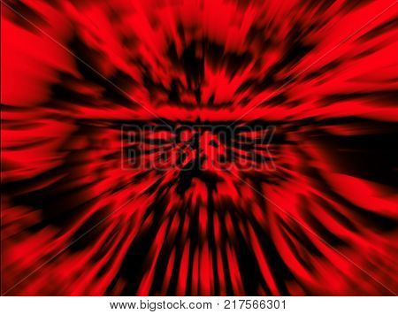 Fury zombie soldier character. Illustration in genre of horror. Danger character face. Blur effect. Wall in red color.