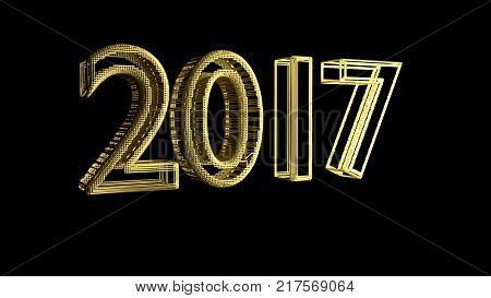 Outgoing 2017 gold jewelry mesh on a black background 3d rendering