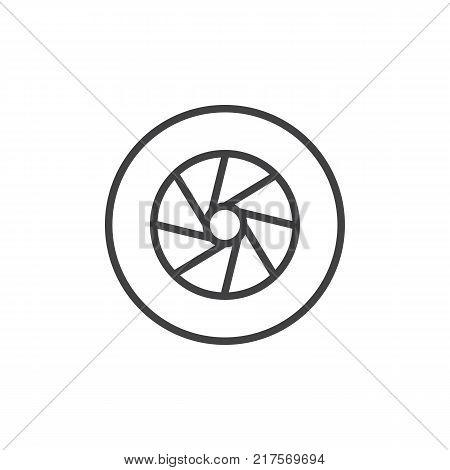 Camera photo lens shutter line icon, outline vector sign, linear style pictogram isolated on white. Aperture symbol, logo illustration. Editable stroke