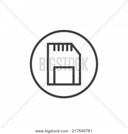 SD memory card line icon, outline vector sign, linear style pictogram isolated on white. Symbol, logo illustration. Editable stroke