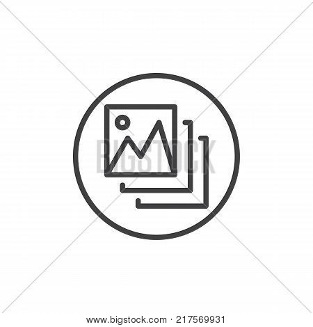 Photo gallery line icon, outline vector sign, linear style pictogram isolated on white. Landscape pictures symbol, logo illustration. Editable stroke