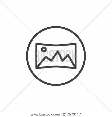 Panoramic shooting mode line icon, outline vector sign, linear style pictogram isolated on white. Panorama mode symbol, logo illustration. Editable stroke