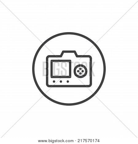 LCD screen of DSLR photo camera with control buttons line icon, outline vector sign, linear style pictogram isolated on white. Back side of digital camera symbol, logo illustration. Editable stroke