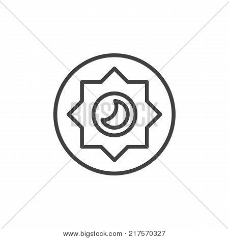 Night mode brightness mode line icon, outline vector sign, linear style pictogram isolated on white. Photo camera manual settings symbol, logo illustration. Editable stroke