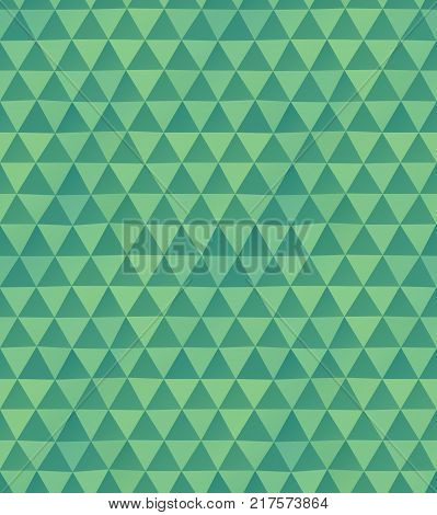 Abstract seamless pattern of irregular triangles in green colors
