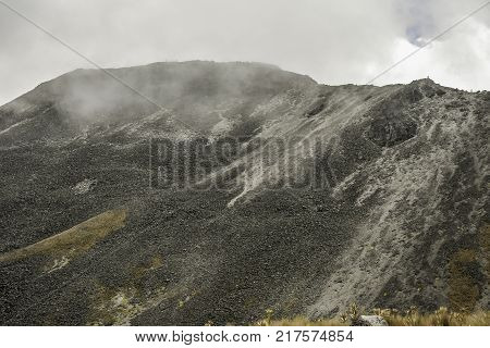 Panoramic view of Volcano Nevada de Toluca with lakes inside crater in Mexico