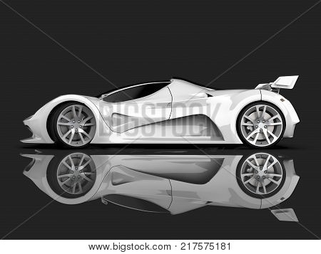White racing concept car. Image of a car on a gray glossy background. 3d rendering